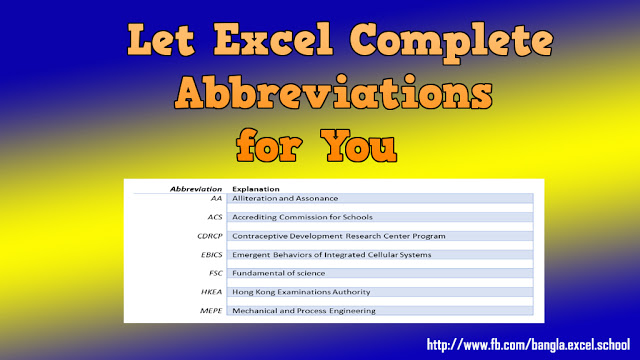 How to set Abbreviation in Excel