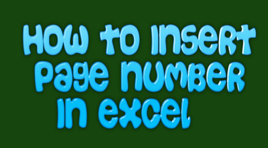 how to insert page number in excel