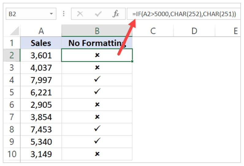 CHAR & If Formula to insert check mark