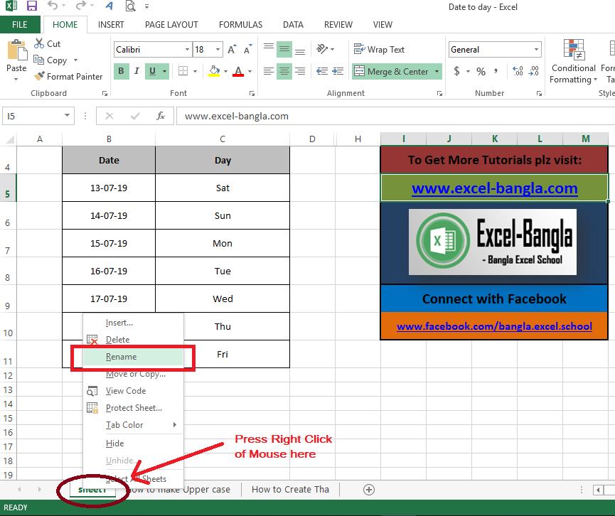 Changing worksheet name and color
